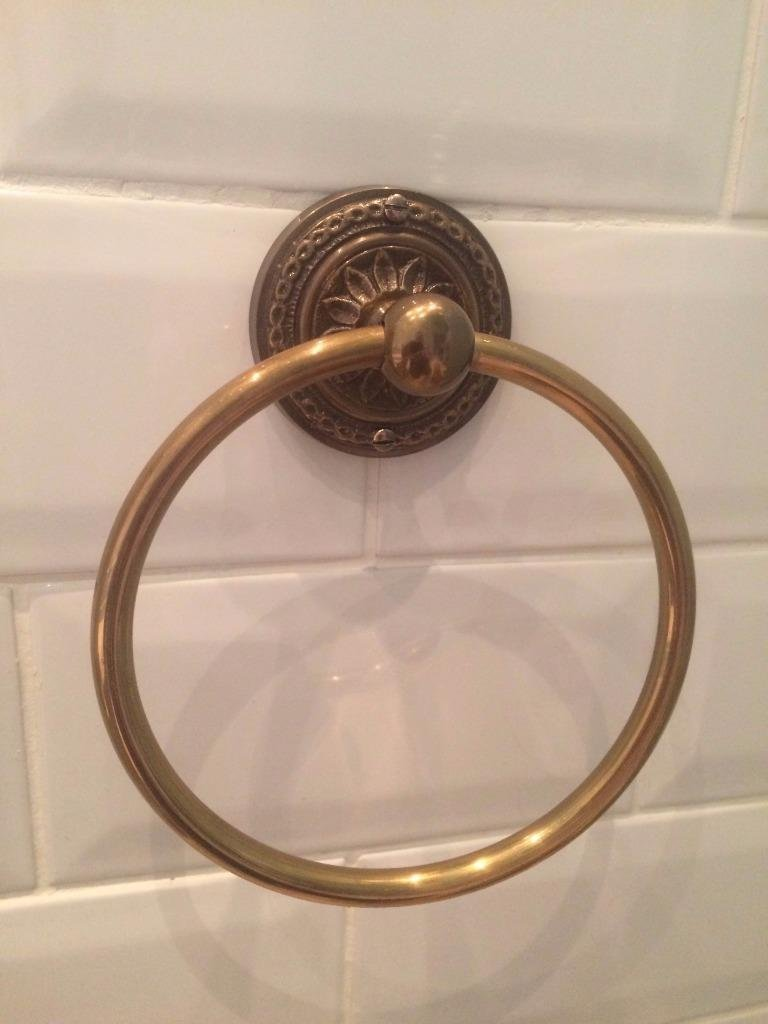 Antique Bronze Brass Embossed Base Guest Towel Ring Holder Vintage Style Wall Mounted WC Bathroom Accessories GTR-101E-AB Chattels