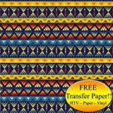 Yellow & Blue Tribal Pattern Printed Heat Transfer Vinyl (Style C - 12 x 36)
