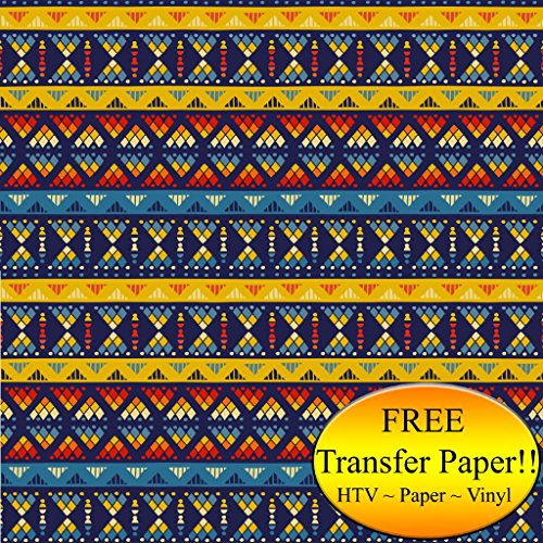 Yellow & Blue Tribal Pattern Printed Heat Transfer Vinyl (Style C - 12 x 36) by American Sign Letters