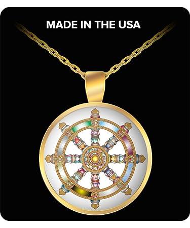 Amazon buddha necklace pendant dharma wheel dharmachakra buddha necklace pendant dharma wheel dharmachakra buddhist symbol sanscrit teaching of siddhartha gautama buddha aloadofball Choice Image