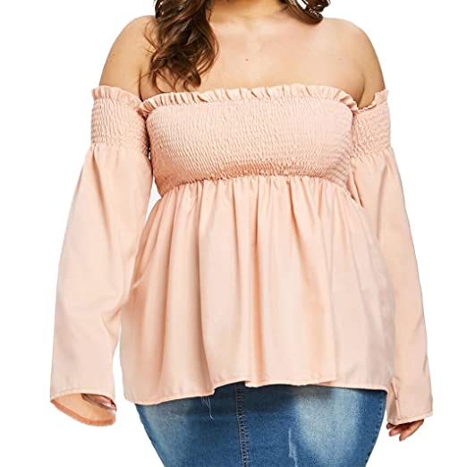 7ce94e05 Raptop Plus Size Women's Plus Large Size Off-Shoulder Openwork Sling Strapless  Shirt Casual Loose