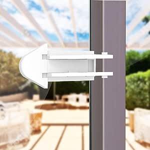 4 Pack Baby Proof Sliding Door Locks Set for Glass Window Entry Door