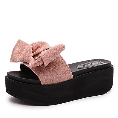 0a78a92db075 T-JULY Women s Ladies Slide Sandals High Heel Platform Wedge Sandals  Fashion Summer Slipper Pink
