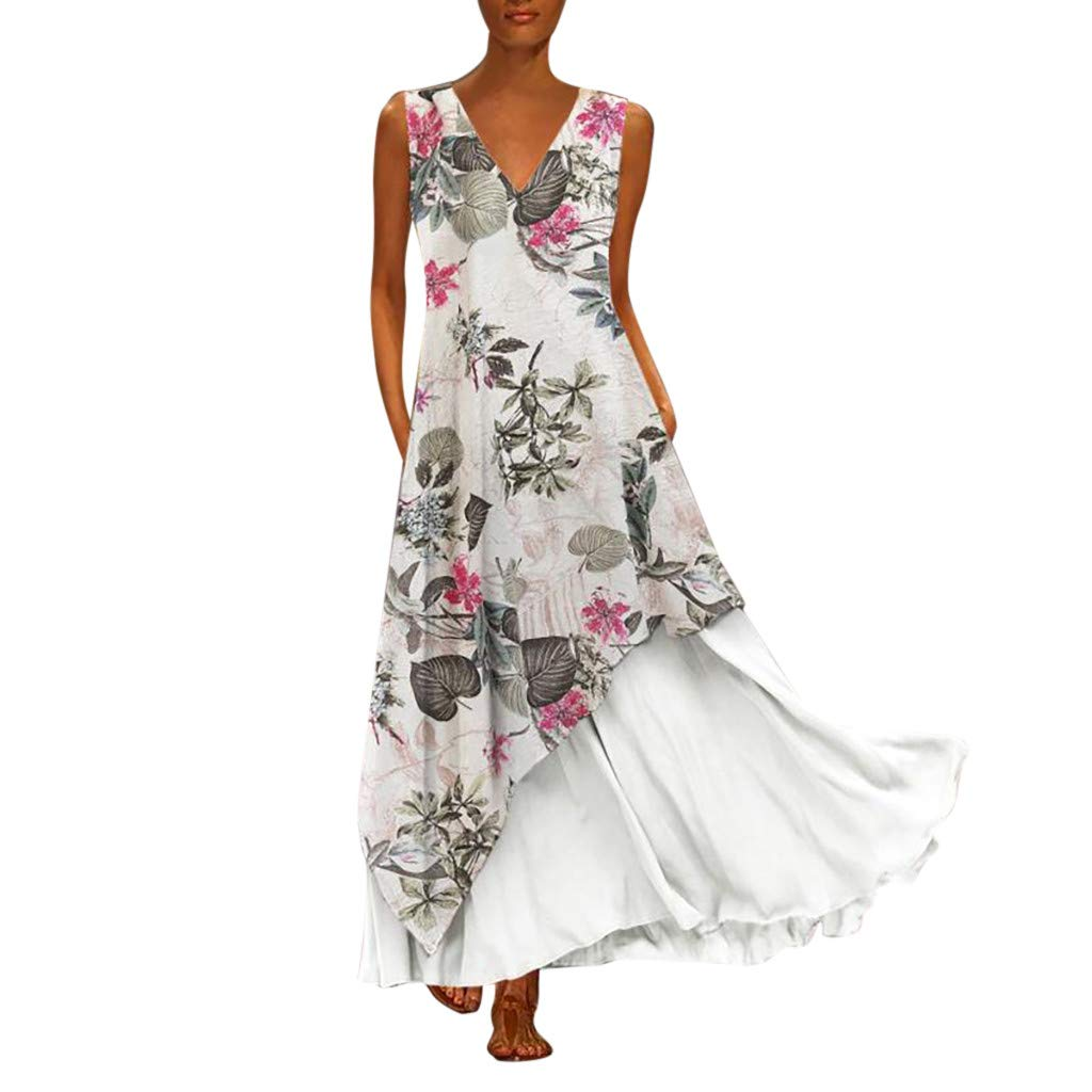 Plus Size Women Vintage V Neck Splicing Floral Printed Sleeveless Maxi Dress White by HJuyYuah