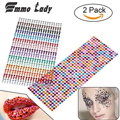 1404 Pieces Self-adhesive Flat Back Rhinestones Round Crystal Gems 3 mm - 6 mm, Multicolor Rhinestones for Craft, 4 Sizes (3 mm, 4 mm, 5 mm, 6 mm)