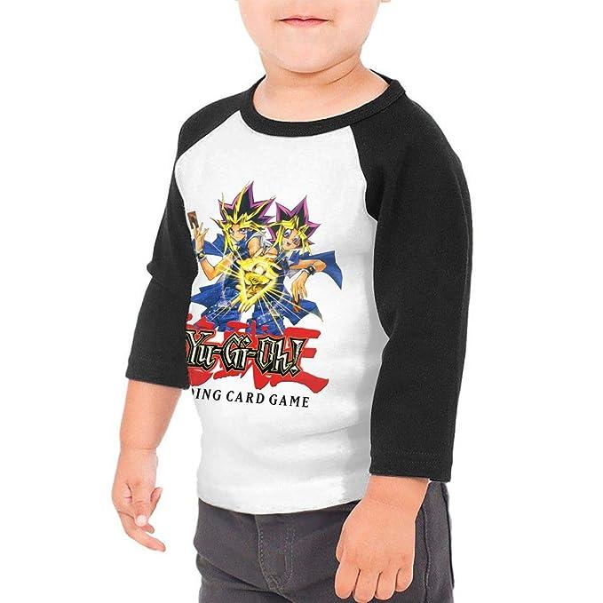 198975501f6 Amazon.com  PaulineD Toddler Yu-Gi-Oh 3 4 Sleeve Raglan Baseball Tshirt for  Girls   Boys Black  Clothing