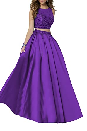 Ladsen See-Through Backless Beaded Prom Dresses Long L214 Purple US0 Size