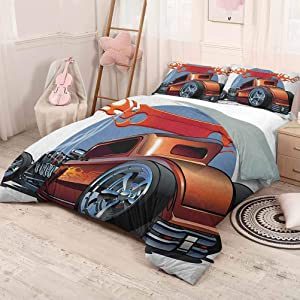 prunushome Cars 3 Pieces for Quilt Cover Pillow Case Cartoon Hot Rod Antique Customized Classical American Engine Nostalgia Revival Funny Sleeping Fashion Orange Blue Black California King