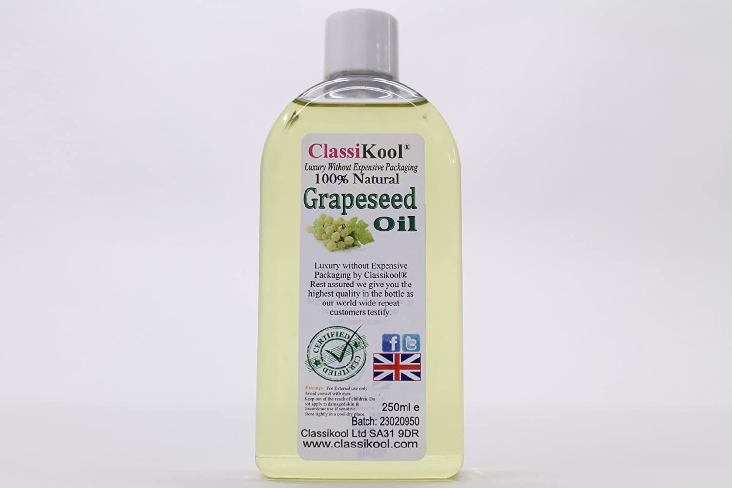 250ml Classikool Pure Grape Seed Carrier Oil [Free UK Post]