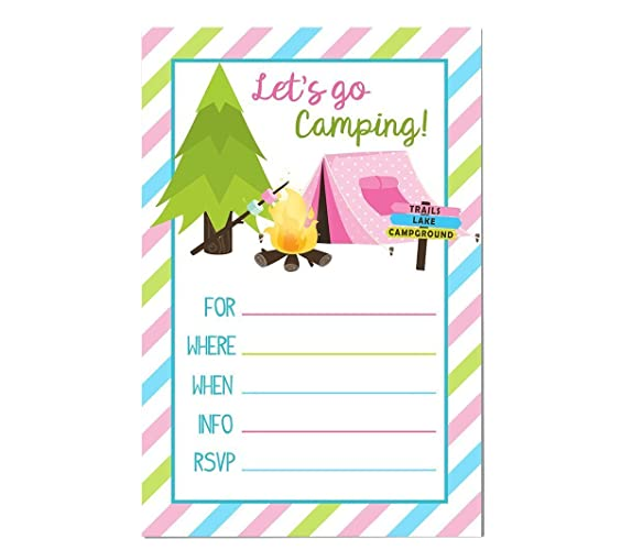 amazon com camping invitation 10 ct 5x7 great for girl