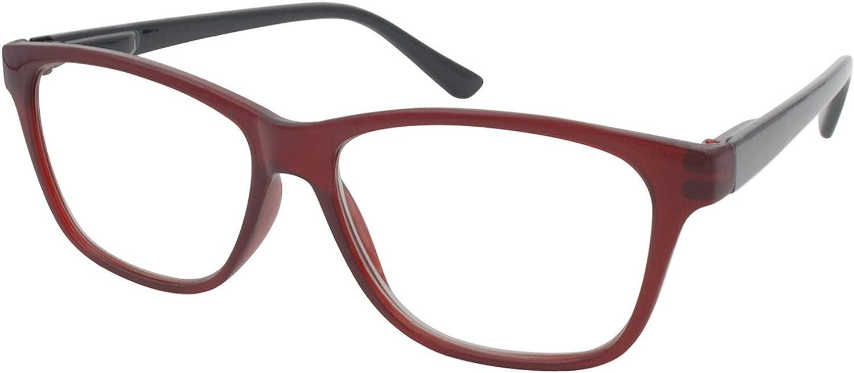 TBOC Gafas de Lectura Presbicia Vista Cansada - Graduadas +2.50 Dioptrías Montura de Pasta [Burdeos] de Diseño Moda para Hombre Mujer Unisex Lentes de Aumento para Leer Ver de Cerca: Amazon.es: Salud