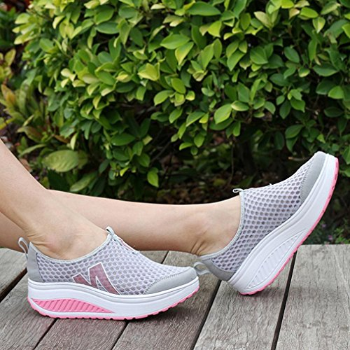 for Wedges VEMOW Dance Gray Air Flops up Walking Espadrilles Women Running Thongs Breathable Trainers Shoe Janes Loafers Mary Lace Platform Flats Sandals Mesh Flip Cute Swing qFFC45