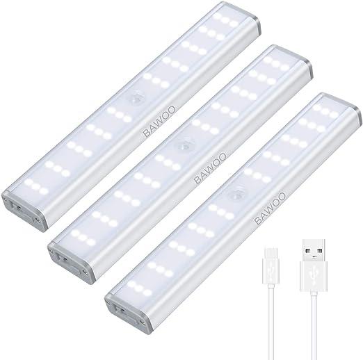 Luz Armario Sensor Movimiento Luces Gabinete 30 LED Luz Nocturna Recargable Bawoo 3 Luz de Noche 3 Brillo Luz de Armario Adhesivo Magnético Lámpara Cocina LED Wireless Lámpara Cocina Escalera Pasillo: Amazon.es: Iluminación