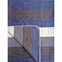 Soft and Warm Alpaca Wool Reversible Throw Blanket Handwoven in Ecuador (BLUE)