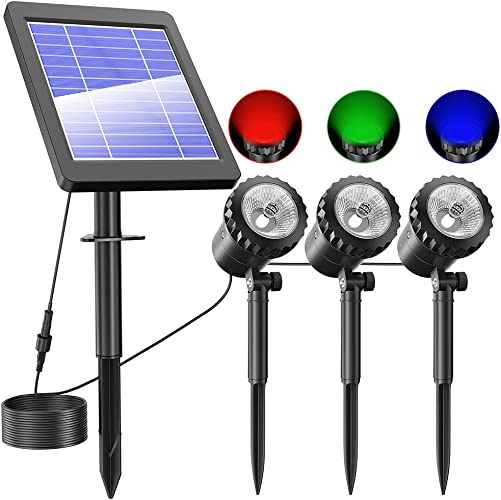 NFESOLAR Solar Spotlights Outdoor, IP68 Waterproof RGB Solar Landscape Spotlights with 3 Lamps, RGB Solar Landscape Lights for Garden, Pond, Fountain, Yard, Lawn, Tree RGB Color