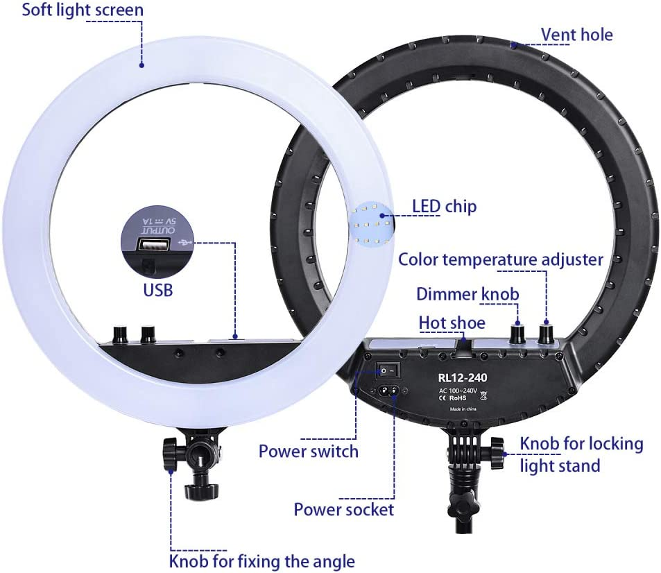 HUAXING 18 inch FT Bi-Color Photographic Lighting 3200-5800K 80W Led Ring Light Lamp/& Tripod Stand Mirror for Phone Camera