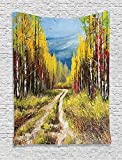 THndjsh Country Decor Collection, Eart Road Path between Trees in the Fall Autumn with Bright Nature Rural Art Work, Bedroom Living Room Dorm Wall Hanging Tapestry, Blue Yellow Brown