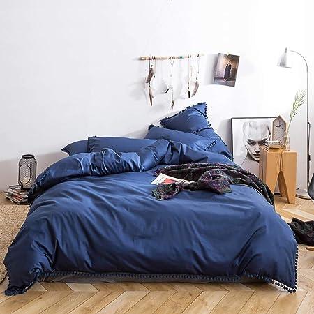 4 piezas Ropa de cama azul marino Azul 100 Algodón Funda nórdica ...