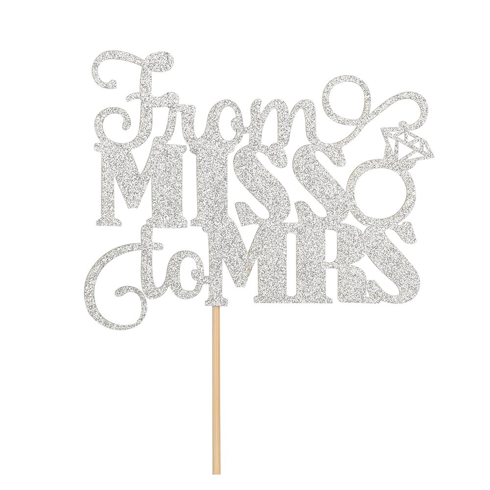 From MISS To MRS Cake Topper Silver Glitter Bride To Be Wedding Bridal Shower Engagement Decorations Supplies Wedding Anniversary Party