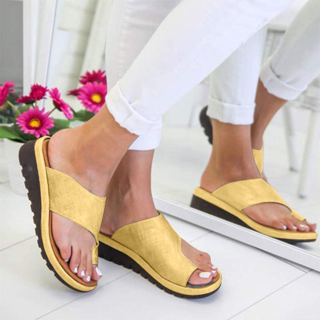 SSYUNO Womens 2019 New Comfy Platform Toe Ring Wedge Sandals Shoes Summer Beach Travel Shoes Comfortable Flip Flop Shoes