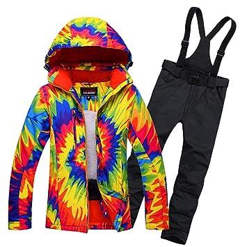 Zjsjacket Traje de Esqui Mujeres Snowboard Traje de Nieve Damas Chaqueta de esquí y Pantalones Impermeables Breathale térmica a Prueba de Viento Ropa de ...