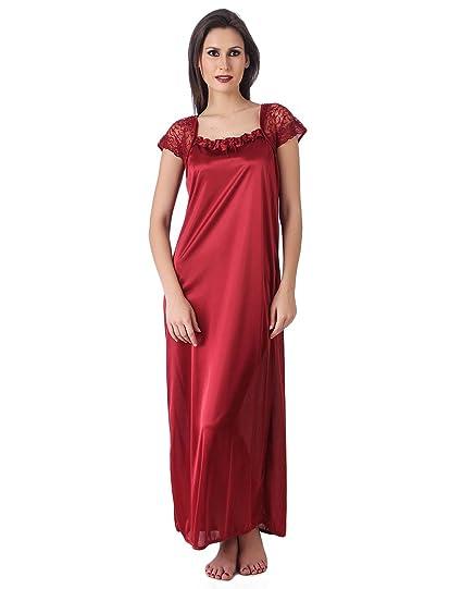 Masha Women Satin Nightdresses   Nightshirt (Nt14-43  Maroon  Free Size) 74003161f