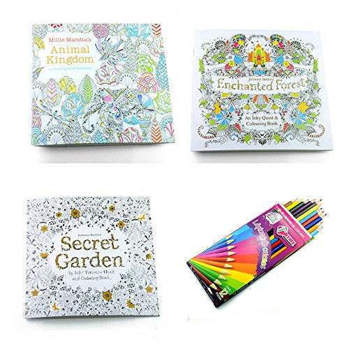 3 Adult Stress Relieving Patterns Coloring Books Enchanted Forest Animal Kingdom Secret Garden Relaxation Templates For Meditation And Calming Free Set