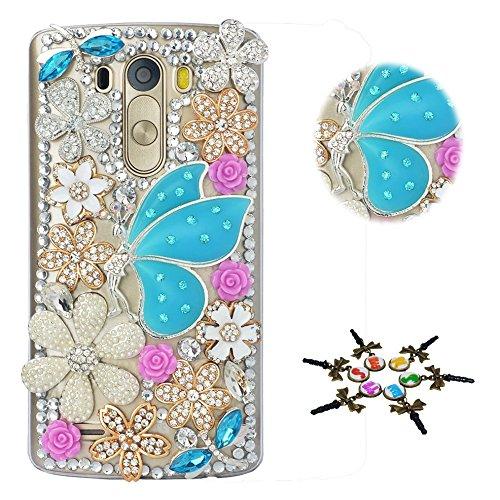 STENES LG Aristo 2 Case - STYLISH - 100+ Bling - 3D Handmade Fairy Girl Flowers Floral Design Protective Case For LG Aristo 2 - Blue (Fairies Handmade)