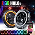 "Xprite 7"" Inch Round Bluetooth RGB 90W 7400 Lumens Hi/Lo Beam CREE LED Headlights w/ Halo Ring DRL and Turn Signal Function for Jeep Wrangler JK TJ LJ 1997 - 2017"