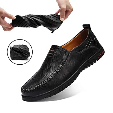 554bc456d28a Ezkrwxn Mens Casual Breathable Leather Driving Shoes Slip on Loafers for Men  Black Size 6.5 (