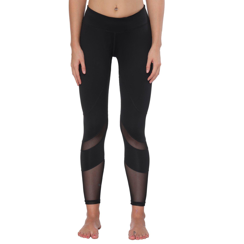 Yoga Pants, FEIVO Women's Power Flex Yoga Pants Tummy Control Workout Yoga Capris Pants Leggings,Mesh-black2,Medium
