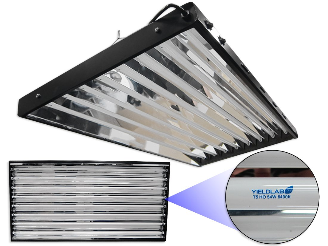Yield Lab Complete 54w T5 Eight Bulb Fluorescent Grow Light Panel (6400K)