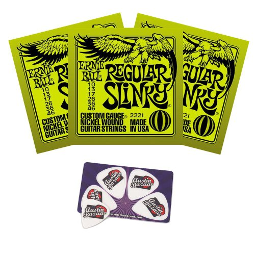 - Ernie Ball 2221 Regular Slinky String Set (10 - 46) Electric Guitar Strings - 3 Pack with Picks