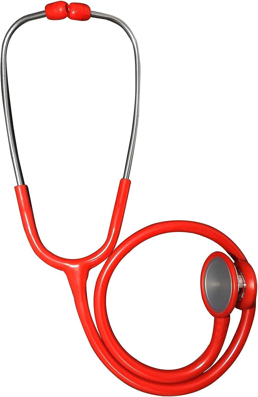 Fonendoscopio de lujo de acero inoxidable de doble cabeza y campana grande de cardiología de alta precisión y maletín de transporte forrado de gomaespuma y caja de repuestos roja.