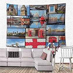 NineHuiTechnology England Wall Tapestry Hanging, England City Red Telephone Booth Clock Tower Bridge River British Flag with Flowers Light-Weight Polyester Fabric Wall Decor, 90x60, Blue Red