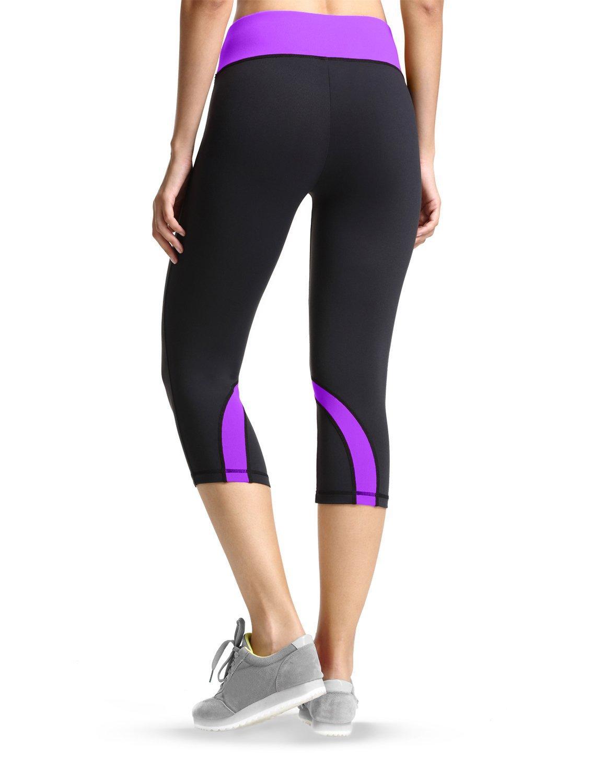 Baleaf Womens Yoga Running Workout Capri Legging Hidden Pocket