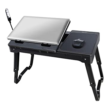 IMounTEK Multi Functional Portable Laptop Table (Internal Cooling Pad, LED  Desk Lamp,