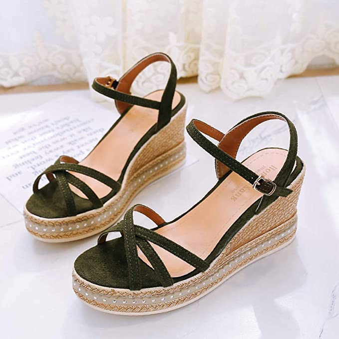 Amazon.com: Women Casual Sandals,Sharemen Cross Narrow Strap Ankle Buckle High-Heel Wedge Shoes Shallow Mouth Rome Sandals: Clothing