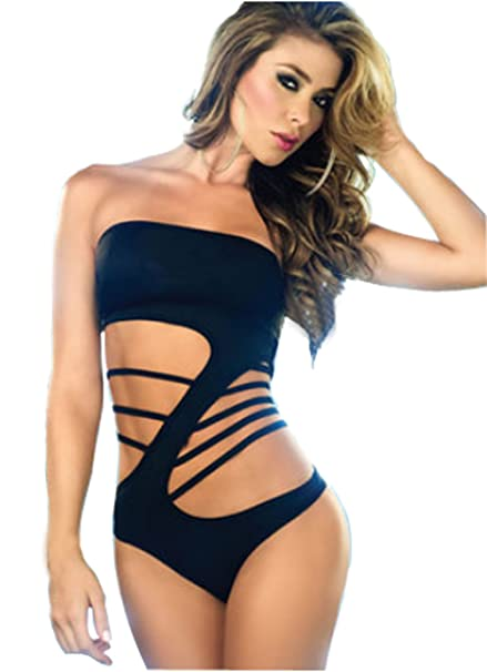 cc2897a21f048 New Design One Piece Super Sexy Women s and Girls Strapless Hollow Bikini  Swimsuit-Black (