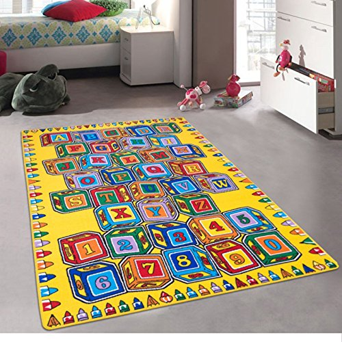 CR's Kids / Baby Room / Daycare / Classroom / Playroom Area Rug. Alphabet. Numbers. Blocks. Educational. Fun. Non-Slip Gel Back. Play Mat (8 Feet X 10 Feet)
