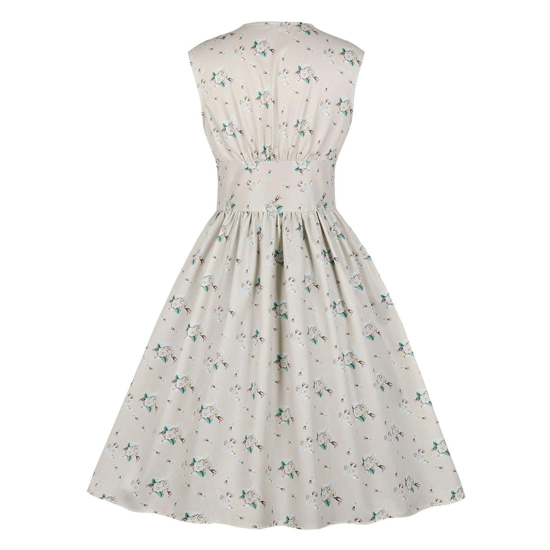 Killreal Womens 1950s Vintage Floral Printed V Neck Sleeveless Swing Dress
