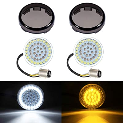 """Amazicha 1157 2"""" LED Turn Signals Inserts, Bullet Style Amber Turn Signal Light White Running Light Panel, 2 PCS Smoke Lens Cover, Compatible for Harley Davidson Softail Dyna Sportster Touring: Automotive"""