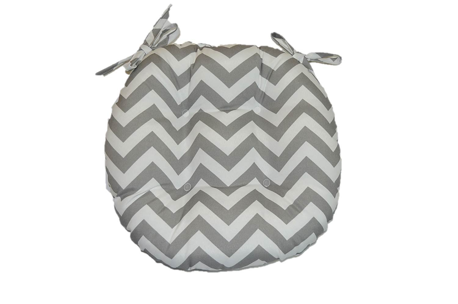 Indoor / Outdoor Round Tufted Bistro Cushion with Ties - Gray / Grey and White Chevron / Zig Zag Fabric - Choose Size (16'' round)