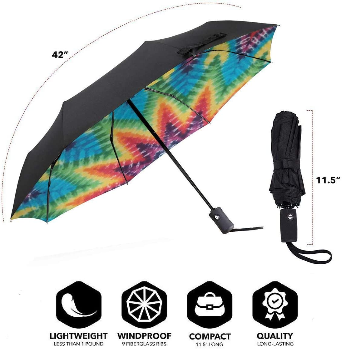 Mandala Rainbow Tie Dye Automatic Windproof Travel Umbrella Compact Canopy With Black Glue And UV-resistant Coating