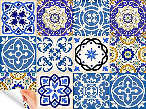 Mi Alma Backsplash Tile Stickers 24 PC Set Authentic Traditional Talavera Tiles Stickersl Bathroom & Kitchen Tile Decals Easy to Apply Just Peel and Stick Home Decor 4x4 Inch (Kitchen Decals SB14)