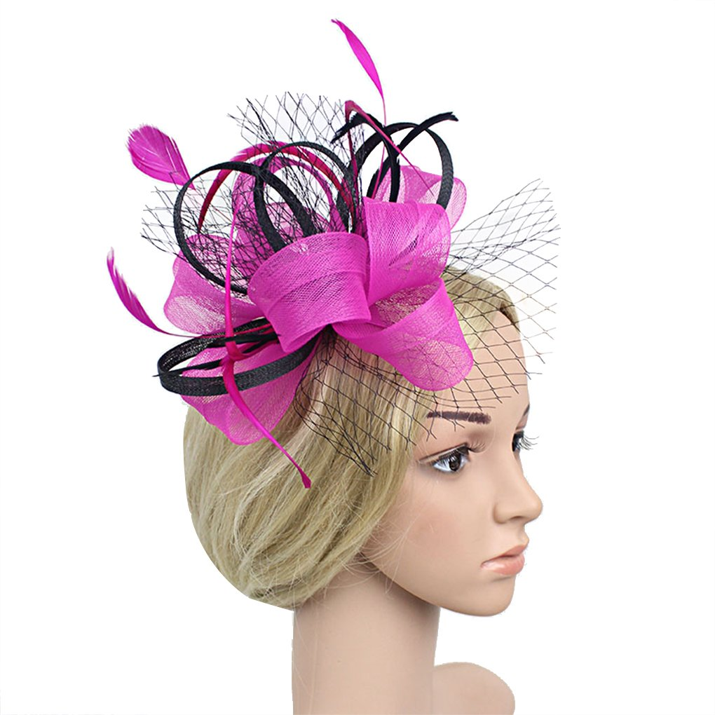 Womens Two-Tone Flower Hair Clip Cocktail Tea Party Headwear Fascinators  Hat 14 Fuchsia at Amazon Women s Clothing store  d3dff4514d2