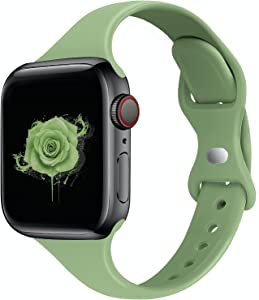 STG Sport Band Compatible with Apple Watch 38mm 40mm 42mm 44mm, Soft Silicone Slim Thin Narrow Replacement Strap Compatible for iWatch SE Series 6/5/4/3/2/1 (Mint Green, 38/40mm)