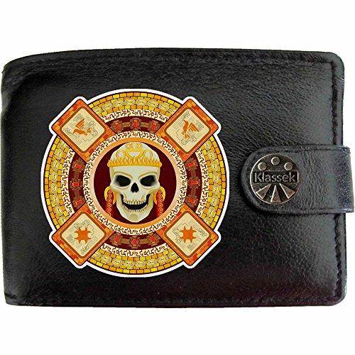 Aztecs Skull Death God Azteken Schädel Tod Gott Klassek Herren Geldbörse Portemonnaie Brieftasche Amerikanischer Ureinwohner aus echtem Leder schwarz Geschenk Präsent mit Metall Box