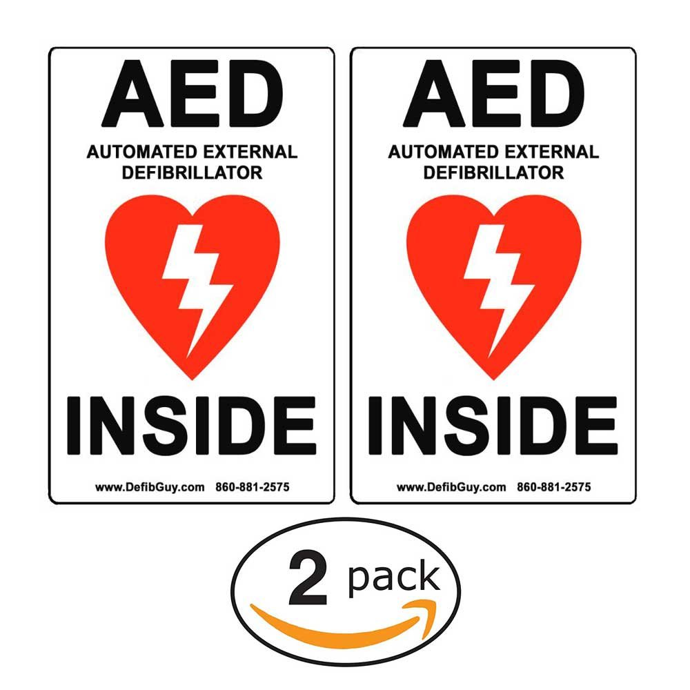 2 PACK of 4' Width x 6' Height, Vinyl, Red and Black on White Weatherproof AED Label, 'AED Automated External Defibrillator Inside' by Defib Guy AED Automated External Defibrillator Inside by Defib Guy