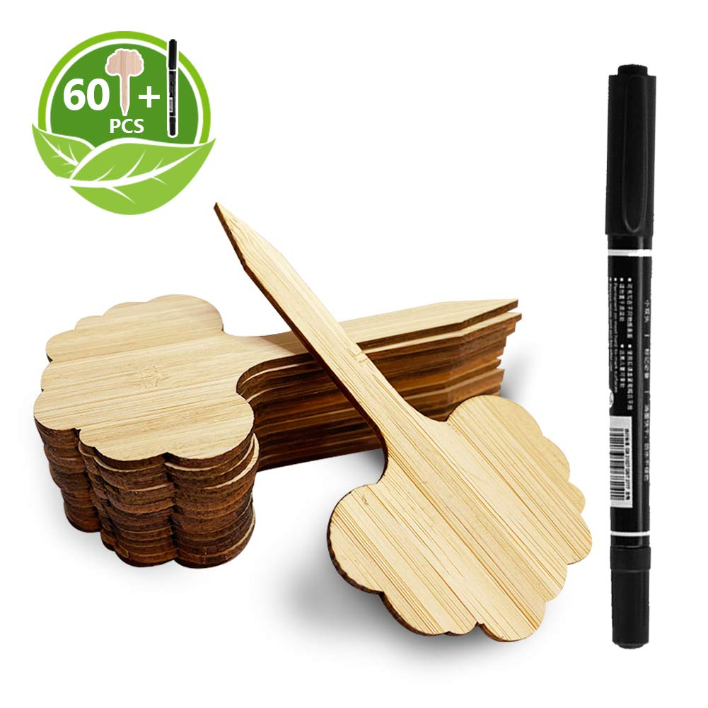 Whaline 60Pcs Bamboo Plant Labels with 1 Marker Pen Eco-Friendly T-Type Wooden Plant Sign Tags Wood Garden Markers Decorative Garden Tags for Seed Potted Herbs Flowers Vegetables 6.5X 10 cm